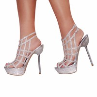 Celeste Stacy-08 Rhinestoned Glitter Strappy Pumps Sandals in Silver @ ippolitan.com