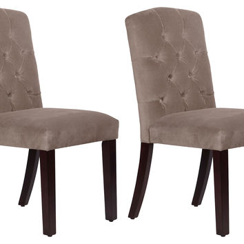 Smoke Leo Tufted Side Chairs, Pair, Dining Chair Sets