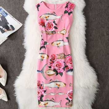 ANGVILME New 2017 Women summer sexy queen bodycon Dress slim pink fish vs flowers young printing vestido party design sexy dress