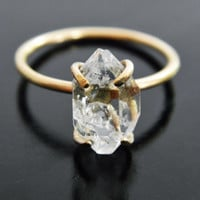 Herkimer Diamond Engagement Ring, Quartz Crystal Ring, Gold Fill Ring, Filled Gold, Raw Quartz Ring, Raw Crystal Ring, Rough Stone Ring