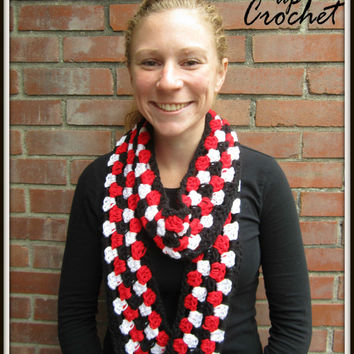 Multicolor Crochet Scarf Warm Accessory for Fall Winter Chunky Red Black White Sparkle Christmas Gift Cincinnati Bearcats UC Razorbacks