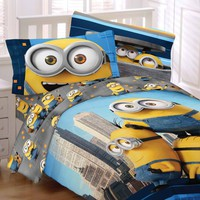 Despicable Me Minions Bedding Set Yellow and Cool Comforter Sheet Set and Sham