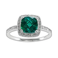 10k White Gold 1/5-ct. T.W. Diamond & Lab-Created Emerald Frame Ring