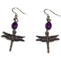 Dragonfly dangle earrings with purple beads