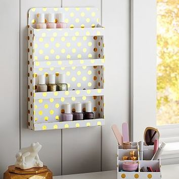 Jane Beauty Collection, Wall Nail Polish Organizer, Gold Dot