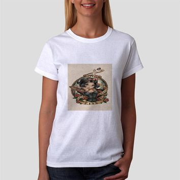 Classic Women Tshirt Snow White Tattoo Vintage Art