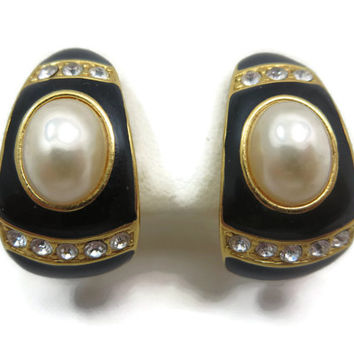Joan Rivers Jewelry - Earrings, Faux Pearl, Rhinestone, Black Enamel, Gold Tone, Clip Backs, Costume Jewelry