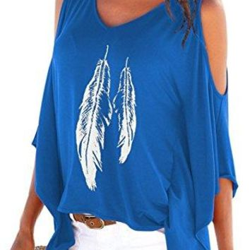 Dellytop Womens Cold Shoulder Tops Feather Print Oversized Batwing Short Sleeve T Shirts