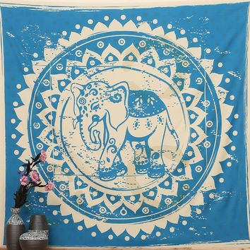 Indian Bohemian Mandala Elephant Wind Chimes Tapestry Wall Hanging Sandy Beach Throw Mat Tippet Rug Blanket Yoga Mat