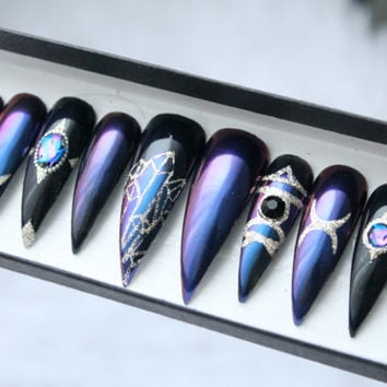 Wicca Duochrome Press on Nails | Occult | Witch | Crystals | Handpainted Nail Art | Glue On Nails | Any Shape and Size