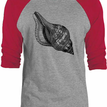 Big Texas Seashell Engraving 3/4-Sleeve Raglan Baseball T-Shirt