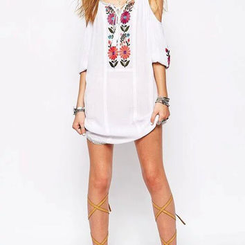 Spaghetti Strap Cold Shoulder 3/4 Sleeve Floral Embroidery Dress