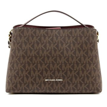 Michael Kors Portia Large East West MK Signature Satchel Crossbody Bag Purse Tote Handbag