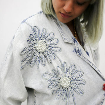 vtg 90's 80's acid wash pearl beaded denim jacket embroidered, floral 1980s 1990s ironic tumblr soft grunge vaporwave aesthetic fashion