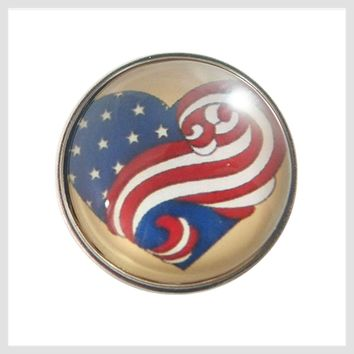 American Flag Swirl Glass Cover 20 mm 3/4""