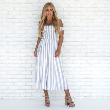 Mykonos Pin Strip Jumpsuit in Blue
