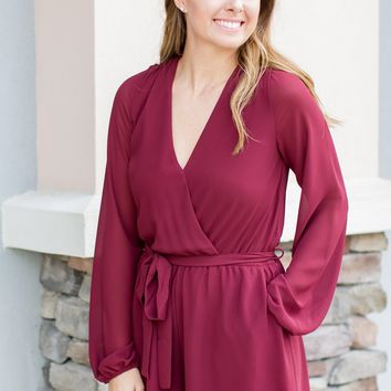 Walk Over The Lin Romper - Burgundy