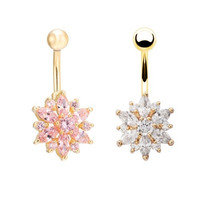 18K Gold Plated Crystal Rhinestone Flower Body Piercing Belly Navel Ring Button Bar Jewelry (With Thanksgiving&Christmas Gift Box)= 1645722308