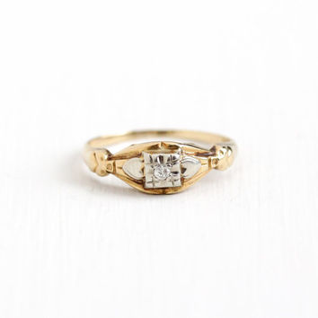 Vintage 14k Yellow & White Gold Diamond Solitaire Ring - Size 6 Art Deco 1930s 1940s Fine Engagement Bridal Floral Flower Heart Jewelry