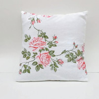 Pink Roses Upcycled Floral Pillow Cover Sustainable Home Decor  18 X 18 Square Inches