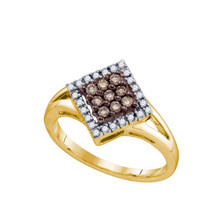 Cognac Diamond Ladies Fashion Ring in 10k Gold 0.25 ctw