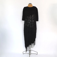 Size Large Vintage 1980s Scala Black Sequin Beaded Silk Dress Short Cocktail Avante Garde Party Fringe Dress New Years Eve Flapper 1920s