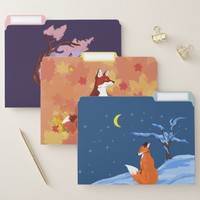 Seasonal Foxes File Folder