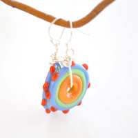 Colorful Lampwork Glass Disc Earrings, Orange Glass Earrings, Flat Disc, Bumpy Glass Earrings