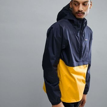 Patagonia Torrentshell Overhead Hooded Jacket Waterproof in Navy/Yellow at asos.com