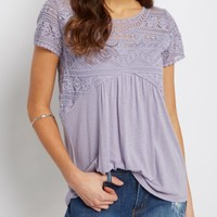 Chevron Lace Babydoll Top | Shirts | rue21