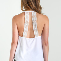 Avery White Lace Halter Top