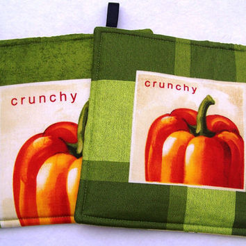Hot Pads Trivets Set of Two Pot Holders Fresh picked Pumpkins
