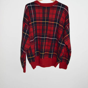 Vintage 90s Plaid Cotton Knit Sweater Mens Womens
