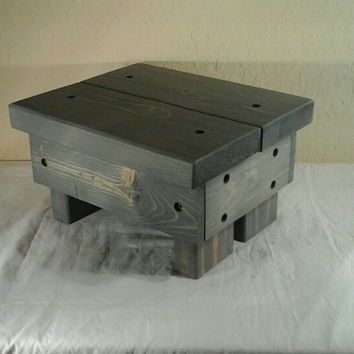 Rustic Step Stool, wooden, handmade  (Weathered Gray)