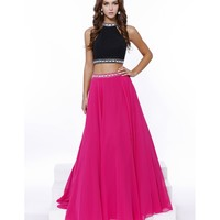 Preorder - Fuchsia & Black Beaded Chiffon A-Line Two Piece Dress 2016 Prom Dresses