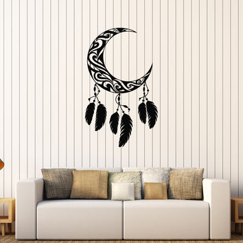 Vinyl Wall Decal Crescent Moon Feathers Dream Catcher Stickers (606ig)