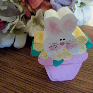 Bunny Rabbit Flower Pot Figurine Hand Painted Wood Easter Spring Farmhouse Cottage Shabby Home Decor Miniature