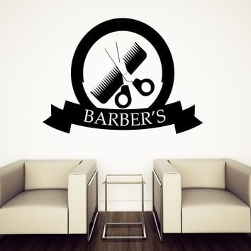 Wall Sticker Barber Shop Decor Haircuts for Men Beauty Salon Vinyl Decal (n678)