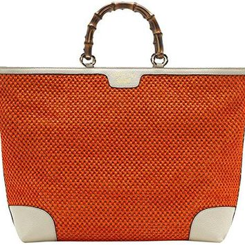 Gucci Orange Bamboo Shopper Hand Woven Straw Tote Large Shoulder Bag