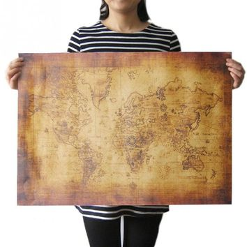 Vintage Fashion Large Globe Old World Map Paper Poster Vinyl Art Wall Sticker Retro Home Decor