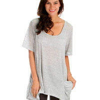 GREY TAKE IT BREEZY SCOOP NECK TUNIC TOP WITH POCKETS