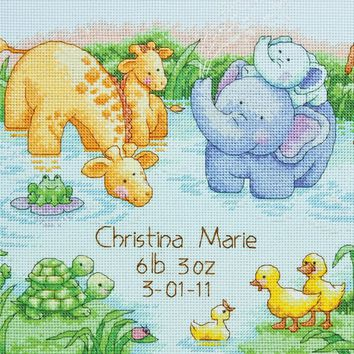 "Little Pond Birth Record (14 Count) Dimensions Counted Cross Stitch Kit 12""X9"""