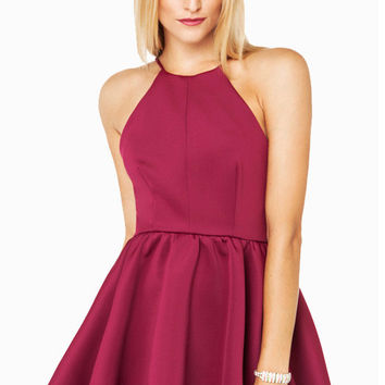 Purple Backless Halter Skater Dress