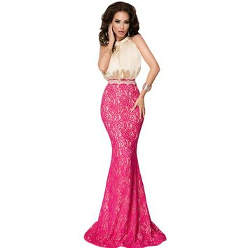 ZKESS Silk Lace Fishtail Long Dress Mermaid Maxi Party Dresses Women Fashion Elegant New Sexy Formal New Arrival Gowns LC61181