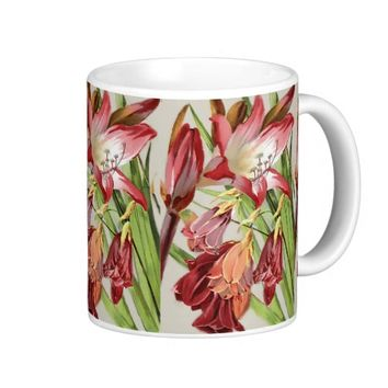 Vintage Flowers Red and Yellow Amaryllis Blossoms Classic White Coffee Mug