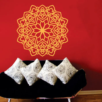 Wall Decal Vinyl Sticker Decals Art Home Decor Mural Mandala Ornament Indidan Geometric Moroccan Pattern Yoga Namaste Flower Om Bedroom AN52