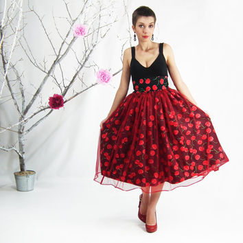 Pin-up Cherry Skirt in Black - Midi Skirt, Ffull Circle Skirt, Plus Suze Skirt, Rockabilly Skirt, Tea Length Skirt, 50's Style Cotton Skirt