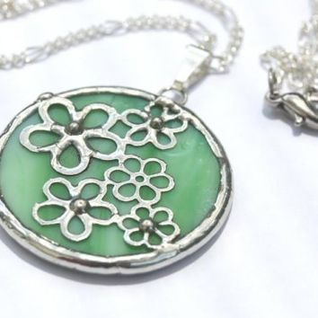 Round Stained Glass Flower Pendant by colorshoppestudio on Etsy