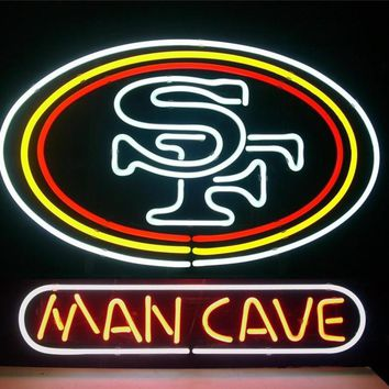 NEON SIGN For  SF San Francisco 49ers Football man cave   Signboard REAL GLASS BEER BAR PUB  display  outdoor Light Signs 17*14""