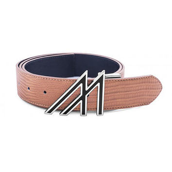 Mint Lizard Belt Tan Platinum Lacquer M Buckle
